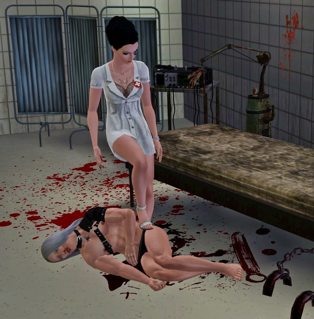 Sims 3 pose with evil nurse