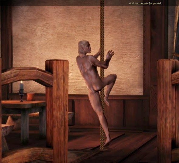 Zevran on a dancing pole.